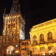 Prague by night: Powder Tower - Stock Photo