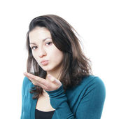 Blowing a kiss — Stock Photo