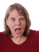 Senior woman with mouth open — Stock Photo