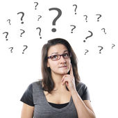 Young woman with question marks — Stock Photo