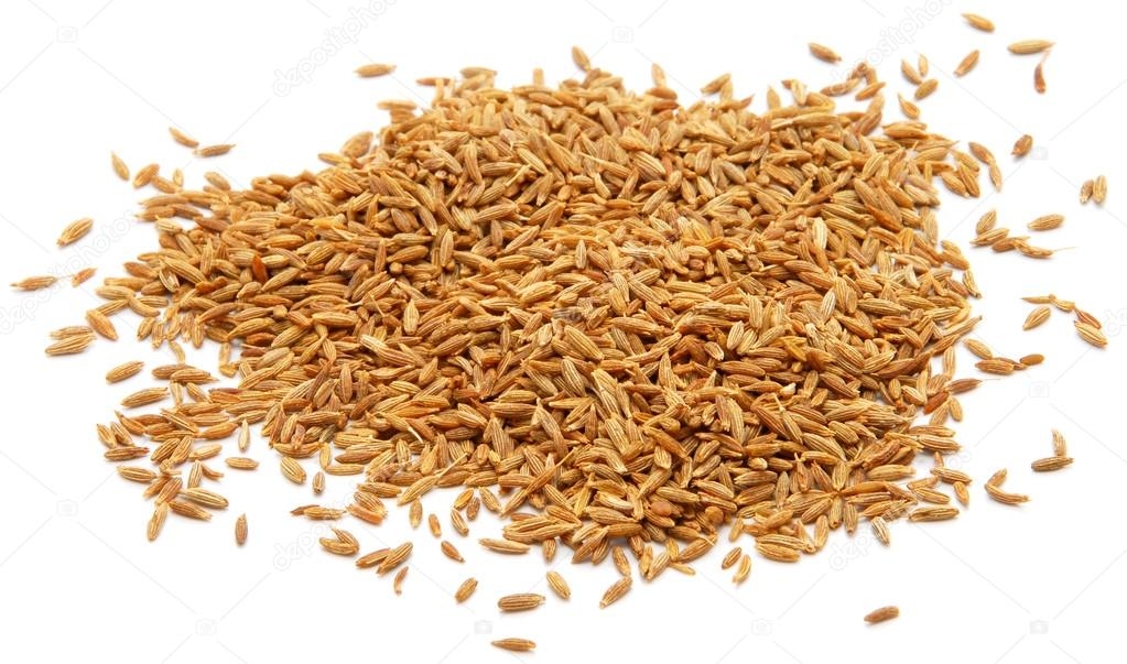 Whole cumin seeds, isolated on a white background — Stock Photo #13465428