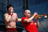 Ukrainian band Haydamaky perform on stage at the Linz Europa Haf — Stock Photo