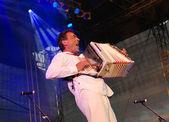 Oostenrijks musicus hubert von goisern op het podium van de li voert — Stockfoto