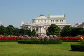 Burgtheater, as seen from the Volksgarten in Vienna — Stock Photo