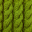 Stock Photo: Closeup of green cable knitting stitch
