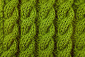 Closeup of green cable knitting stitch — Stock Photo