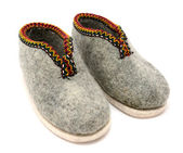 Pair of traditional Austrian embroidered felt slippers — Stock Photo
