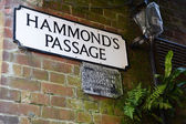 Hammond's Passage with an archaic public notice — Stock Photo