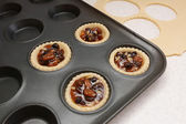 Four pastry cases filled with mincemeat — Stockfoto