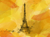 Eiffel Tower painted on orange background with birds,retro — Stock Photo
