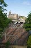A view of the Edinburgh and the railway station — Stock Photo
