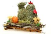 Decoration hen on grass — Stock Photo