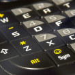 Stock Photo: Modern black PHA phone keyboard closeup soft focus ASDF