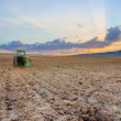 Stock Photo: Autumn field in sunset, tractor cultivatin soil ready for seeding