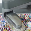 Icc profile, spectrophotometer robot measures color patches on Test Arch, Press shop prepress department — Stock Photo
