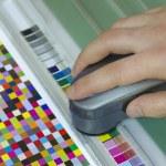 Spectrophotometer verify color patches value on Test Arch, Press shop prepress department — Stock Photo