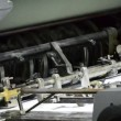Printing press deliver paper to offset drum — Stock Video #25116935