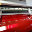 Magenda, Red on the offset  print press machine wide perspective — Stock Video