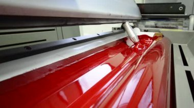 Magenda, Red on the offset print press machine wide angle — Stock Video