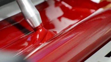 Magenda, Red on the offset print press machine closeup — Stock Video