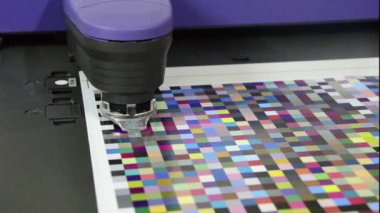 Press shop, spectrophotometer robot measurement of color patches in prepress on Test Arch — Stock Video