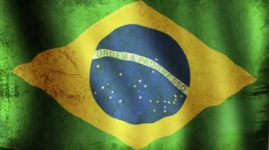 Brazilian Flag - looping, waving, paning, — Stock Video