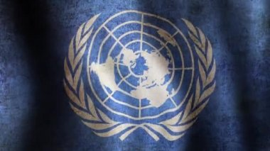 UN Flag - looping, waving, panning, — Stock Video
