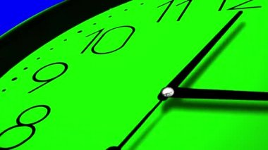 3D Clock Ticking Fast Time GREEN AND BLUE KEY CHROME, — Stock Video