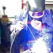 Stock Video: Industrial worker welding,