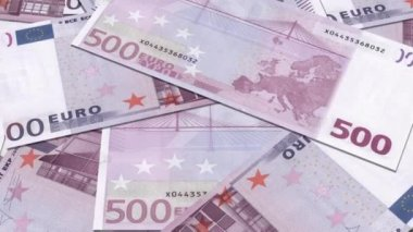 Euro Money 500 banknotes background, Stack of 500 euro bills, — Stock Video