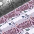 Stock Video: Offset Printing euro banknotes, 500 dollar bill sheet.