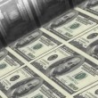 Stock Video: Offset Printing US dollar banknotes (100 dollar bill sheet).