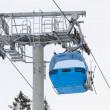 Ski lift cabin Bansko ski center blue elevator Bulgaria — Stock Photo