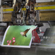 Motion blur, brochure and magazine stitching unit process — Stock Photo