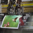 Motion blur, brochure and magazine stitching unit process — Stock Photo #48243033