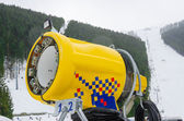 Snowmaking is the production of snow — 图库照片