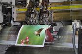 Motion blur, brochure and magazine stitching unit process — Stock Photo
