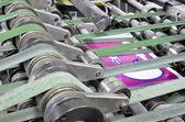 Magazine binding process after offset print. — Stock Photo