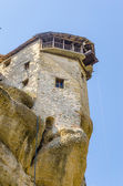 Meteora monastery and lifting cage in Greece — Stock Photo