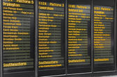 Timetable of Victoria Railway station in London, UK — Stock Photo