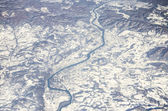 Mountains and frozen river, Alps — Foto Stock