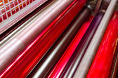Print machine printing press rollers — Stock Photo