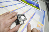Print production loupe control — Stock Photo