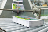 Book, magazine, production line into press plant house — Stock Photo