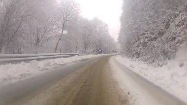 Driving truck on winter road. — Wideo stockowe