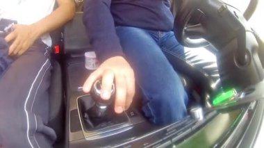 Sports car knob shifting — Stock Video
