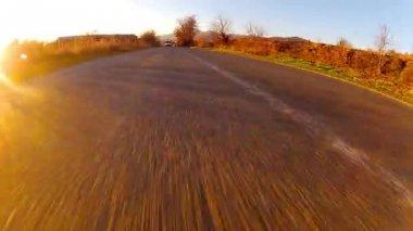 Sport Car Fast Race Driving On Asphalt Road — Stock Video