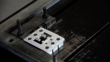 Electric industry laser marking — Stockvideo