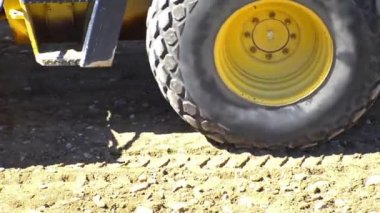 Roller Compactor on Fresh Asphalt Road — Stock Video