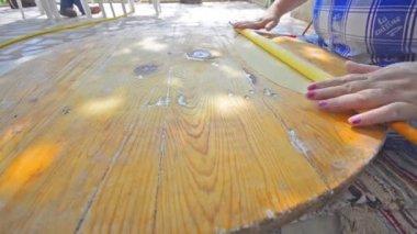Grandmother rolling dough for pizza pasta burek cakes cookies baklava — Stock Video